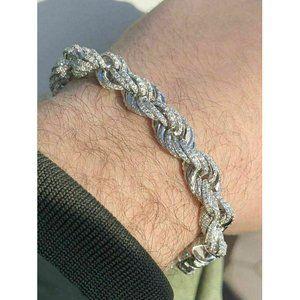Harlembling 925 Silver Diamonds Rope Bracelet 10mm